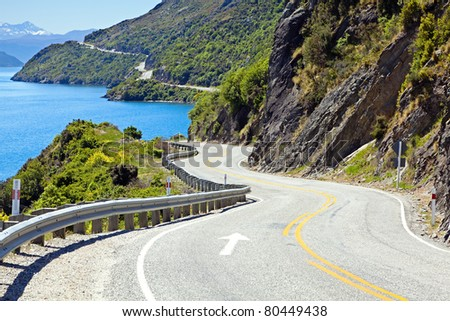 View of lake Wakatipu along the highway towards Queenstown, New Zealand - stock photo