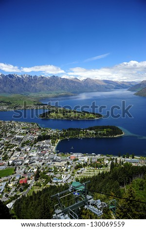 View of Lake Wakatipu and Queenstown, New Zealand - stock photo