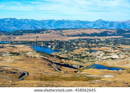 View of lakes and mountains in the Shoshone National Forest in the Beartooth Mountains in Montana and Wyoming - stock photo