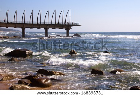 view of landmark pier at Umhlanga Rocks, Durban, South Africa