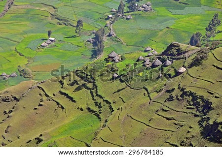 View of landscape below Simien mountains park, Ethiopia. - stock photo