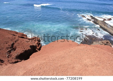 View of Lanzarote Volcanic Coast ( Canary Islands, Spain )