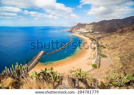 View of Las Teresitas Beach, Tenerife, Spain - stock photo