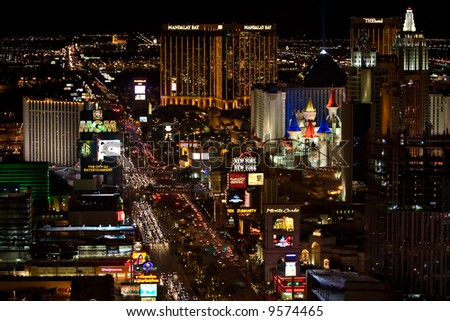 View of Las Vegas Strip at night - stock photo