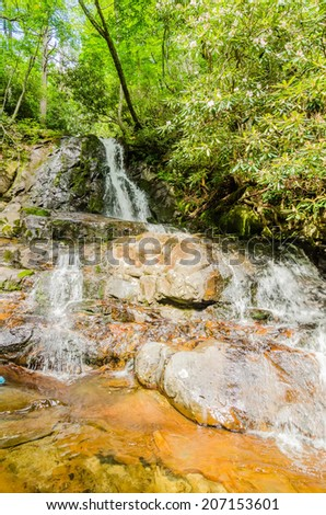 View of Laurel Falls in Great Smoky Mountains National Park - stock photo