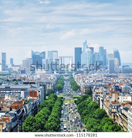View of Le Defence form the Arch of Triumph. Le Defence is a; major business district of the Paris aire urbaine. - stock photo