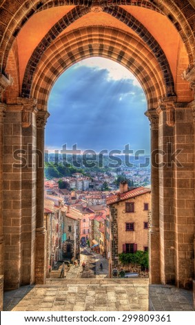 View of Le Puy-en-Velay from the Cathedral - France - stock photo