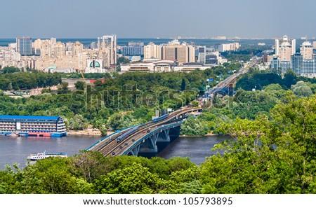 View of Left Bank of Dnieper in Kiev, Ukraine - stock photo