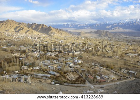 View of Leh from above. Ladakh, Jammu and Kashmir, India - stock photo