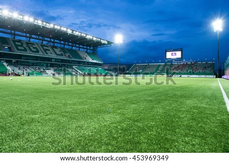 View of Leo Stadium skyline at twilight before match the Thai Premier League 2016 between  Bangkok Glass FC.and Muangthong United  at Leo Stadium on June 29,2016 in PathumThani,Thailand - stock photo