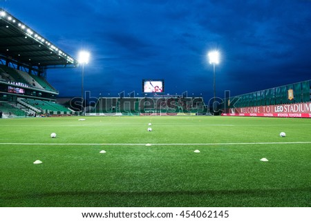 View of Leo Stadium skyline at twilight before match the Thai Premier League 2016 between  Bangkok Glass FC.and Muangthong United  at Leo Stadium on June 29,2016 in PathumThani,Thailand