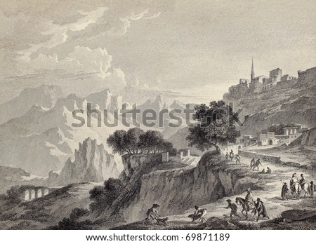 View of Leonforte surroundings, near Enna, Sicily. Created by Chatelet and Mathieu, published on Voyage Pittoresque de Naples et de Sicilie, by J. C. R. de Saint Non, Impr. de Clousier, Paris, 1786 - stock photo