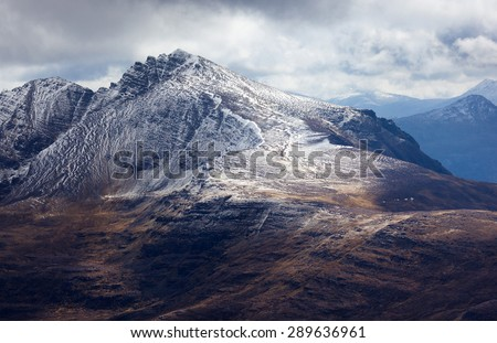View of Liathach from Ben Alligin in the Torridon mountains of North West Scotland. - stock photo