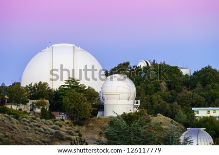 View of Lick Observatory, 120 inch telescope in California. - stock photo