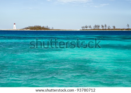 View of lighthouse in Nassau, Bahamas in the Caribbean sea. - stock photo