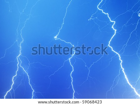 View of lightning in the sky - stock photo