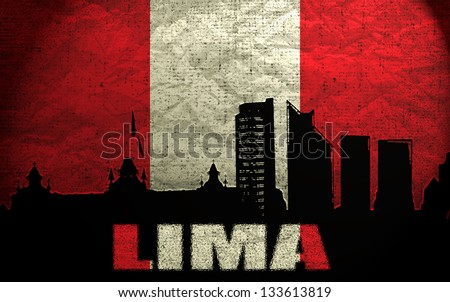 View of Lima on the Grunge Peruvian Flag - stock photo