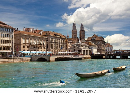 View of Limmat river and Zurich, Switzerland - stock photo