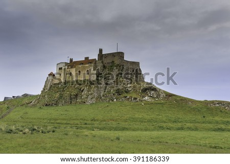 View of Lindisfarne Castle, holy island, northumberland - stock photo
