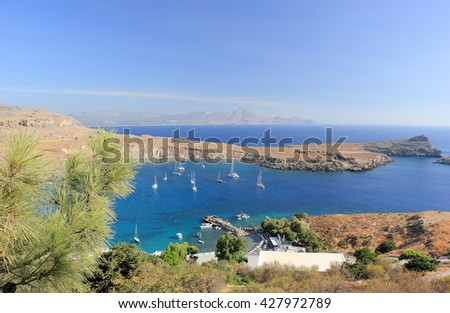 View of Lindos Bay, Rhodes. Dodecanese Islands, Greece, Europe.