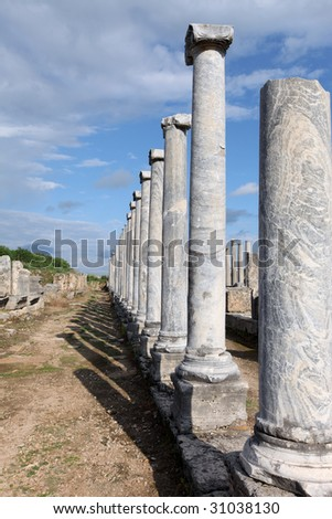 View of line of columns at Perge Turkey - stock photo