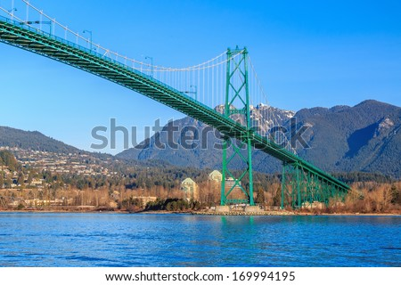 View of Lions Gate Bridge from Stanley Park - stock photo