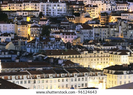 view of Lisbon district by night, Portugal - stock photo