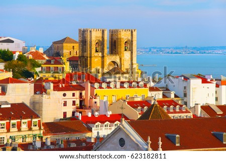 View of Lisbon Old  Town with Santa Maria cathedral in the center. Portugal