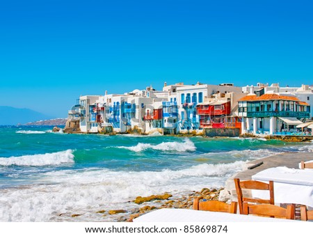 view of Little Venice from a restaurant in Mykonos island in Greece - stock photo