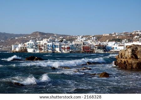 View of little Venice on the Greek island of Mykonos - stock photo