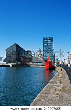 View of Liverpool's historic waterfront, with modern and old architecture. - stock photo