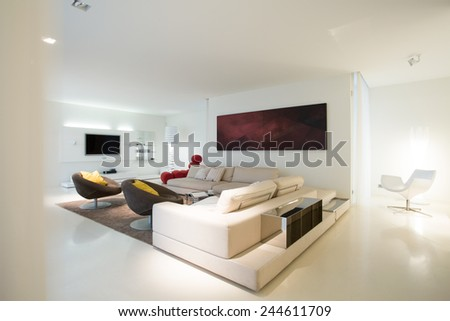 View of living room in pure residence - stock photo