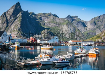 view of Lofoten archipelago bay - stock photo