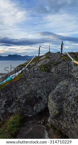 View of Lofoten Islands in Norway - stock photo