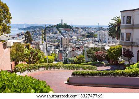 View of Lombard street, cityscape, San Francisco - stock photo