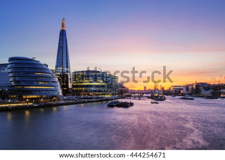 View of London city at sunset. - stock photo