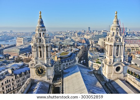 View of London city center from St Paul's Cathedral - stock photo