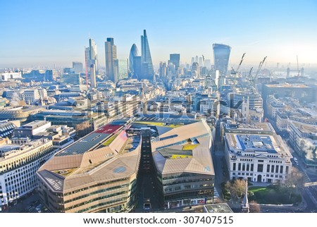 View of London city center from St Paul's Cathedral