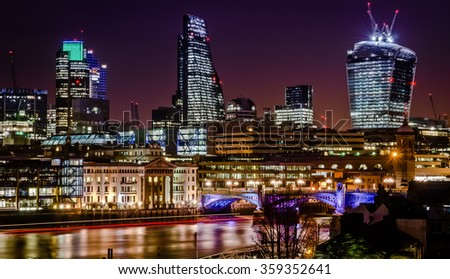 View of London cityscape at night.