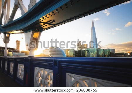 View of London cityscape  from Tower Bridge - stock photo
