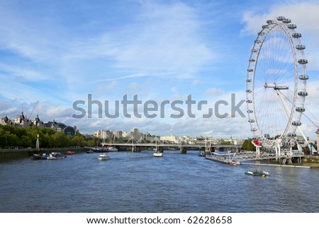 View of London Eye, The Thames, Hungerford bridge. UK