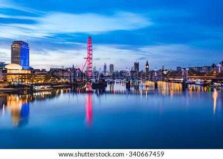 View of London panorama from Waterloo Bridge at sunrise in London , England - stock photo