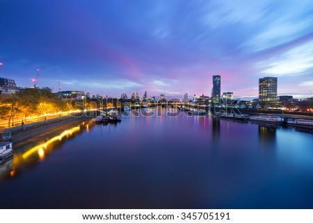 View of London panorama from Waterloo Bridge at sunrise in London , England