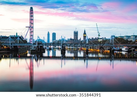 View of London panorama from Waterloo Bridge at sunrise in London , England.
