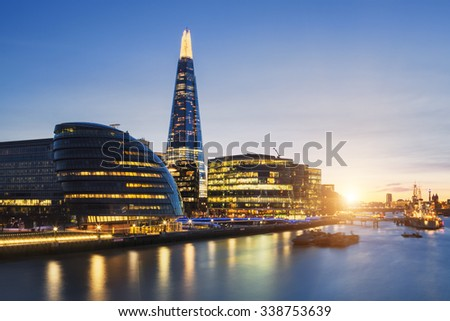 View of london skyline from the Tower Bridge. - stock photo