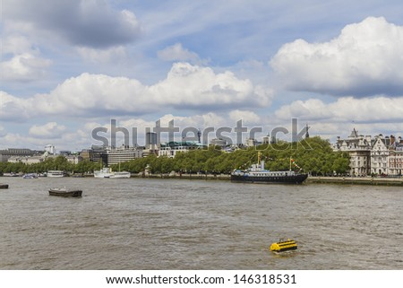 View of London skyline on Thames river. London, UK