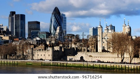View of London Tower and The Gherkin - stock photo