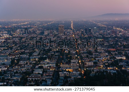 View of Los Angeles at night, from Griffith Observatory, in Griffith Park, Los Angeles, California. - stock photo