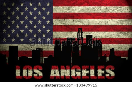 View of Los Angeles City on the Grunge American Flag - stock photo