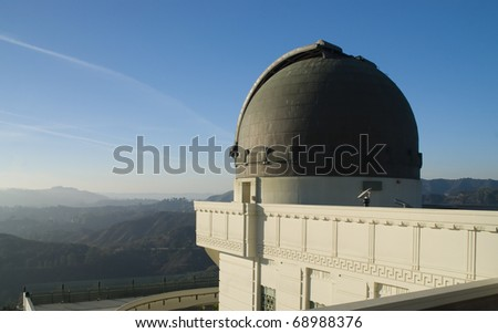 View of Los Angeles from the Griffith Observatory in Los Angeles, California, USA - stock photo